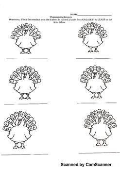 Thanksgiving Ordering Decimals Worksheet