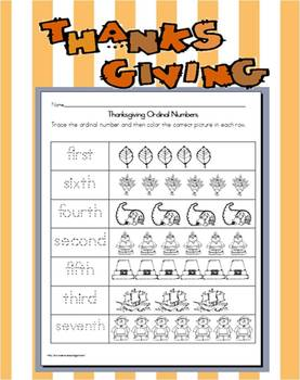 Thanksgiving Ordinal Number Practice