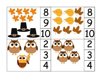 Thanksgiving Owl Clothespin Math to 20