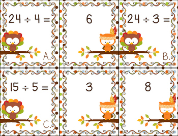 Thanksgiving Owl Division Memory Game/Activity
