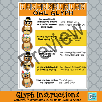 Thanksgiving Math Activity | Graphing Glyph Craftivity {K, 1st, 2nd, 3rd}