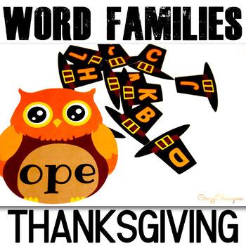 Thanksgiving Word Families Activities: Owl Hats