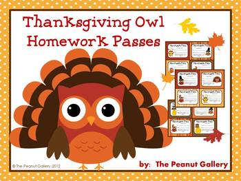 Thanksgiving Owl Homework Passes