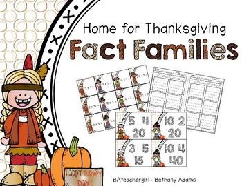 Home for Thanksgiving Fact Families Match ~*Multiplication/Division*~