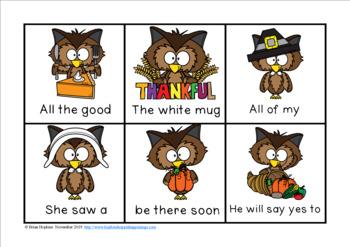 Thanksgiving Owl Sight Word Fluency Phrases Race