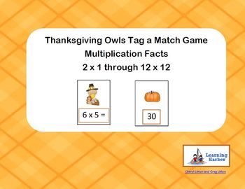 Thanksgiving Turkey - Tag a Match - Multiplication Facts Game