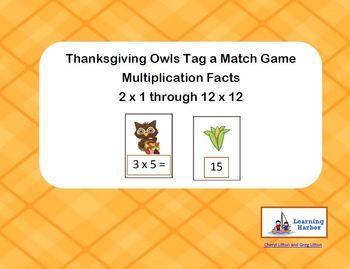Thanksgiving Owl - Tag a Match - Multiplication Facts Game