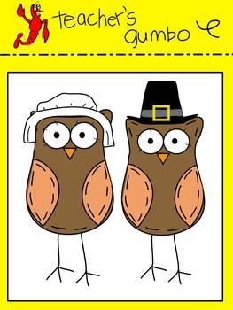 Thanksgiving Owls Clip Art