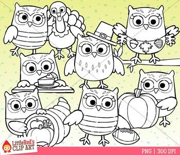 Thanksgiving Owls Clipart
