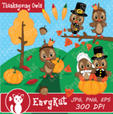 Thanksgiving Owls Digital Clipart