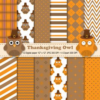 Thanksgiving Owls Digital paper + Clipart