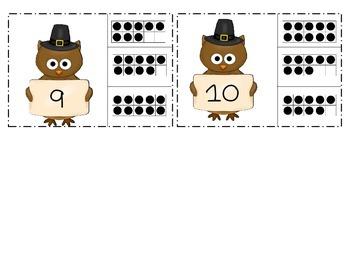 Thanksgiving Owls Ten Frame Clip Cards