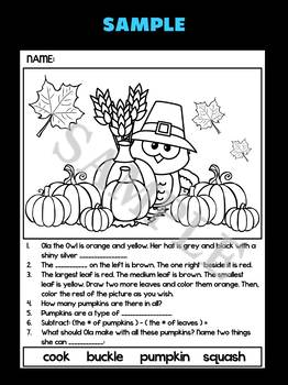 Thanksgiving Owls: Activities Mix of Literacy, Math, Think, Follow Directions