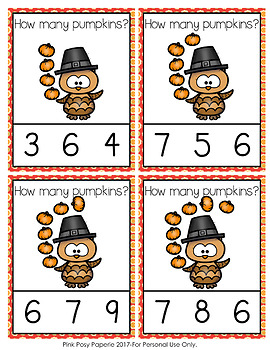 Thanksgiving Owls with Pumpkins Count and Clip Cards Numbers 0-10