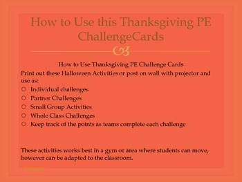Thanksgiving PE Challenge Cards