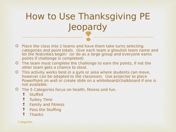 Thanksgiving PE Jeopardy