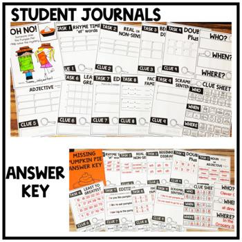 Thanksgiving PIE Solve the Mystery Math & ELA Task Card Activity 1st Grade