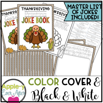 Thanksgiving PRINTING AND CURSIVE Joke Books