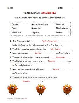 Thanksgiving Complete the Sentences, Thanksgiving Fun