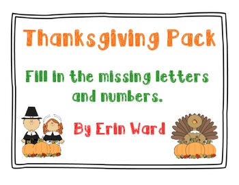 Thanksgiving Pack {fill in the missing letters and numbers}