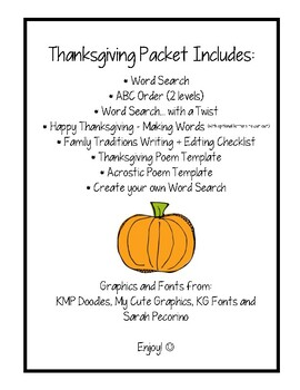 Thanksgiving Packet - Word Skills, Word Searches and Poetry - Super Fun!!