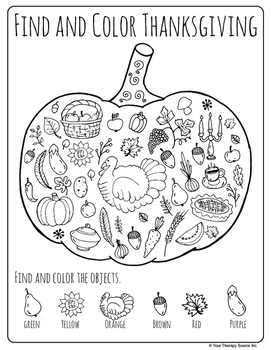 Thanksgiving Packet - Fine Motor, Gross Motor and Visual Perceptual Skills