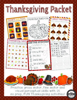 Thanksgiving Packet - Fine Motor, Gross Motor and Visual P