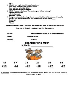 Thanksgiving Packet for Second Grade