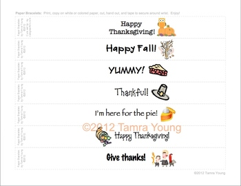 Thanksgiving Paper Bracelets {Free download!}