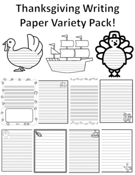 Thanksgiving Paper 32 Single and Primary Lined Papers Thanksgiving Writing Paper