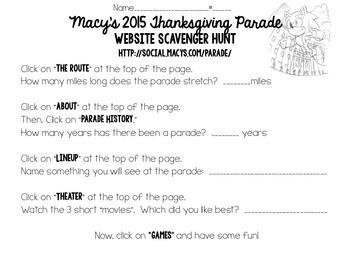 Thanksgiving Parade  - 2015 Website Scavenger Hunt and Design a Float