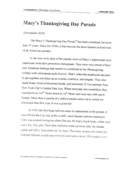 Thanksgiving Parade Listening Comprehension Activity