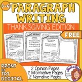 Thanksgiving Paragraph Writing Prompts Print or Easel Activity