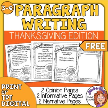 Thanksgiving Paragraph Writing Prompts - FREE