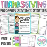 Thanksgiving Writing Paragraph  Sentence Starters (Distanc