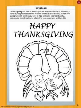 Thanksgiving Paragraph Writing and Artwork Pages Unit