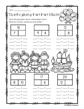 Thanksgiving Part-Part-Whole Addition/Subtraction Fact Families