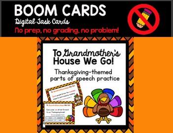 Thanksgiving Parts of Speech Boom Cards Digital Task Cards