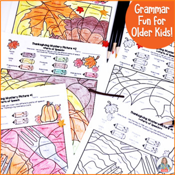 Thanksgiving Activities Parts of Speech Color By Code