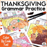 Thanksgiving Coloring Grammar Activities   Parts of Speech Color By Code