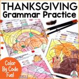 Thanksgiving Coloring Grammar Activities | Parts of Speech