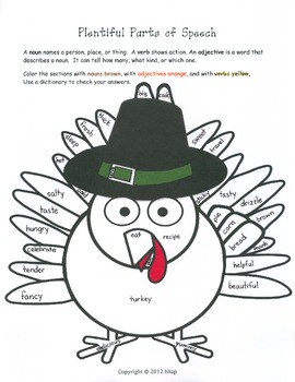 Thanksgiving Parts of Speech Practice coloring activity