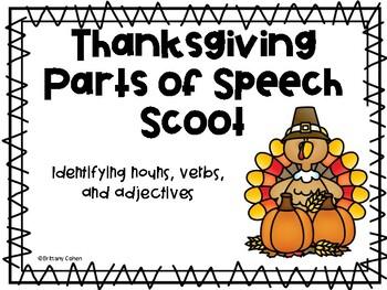 Thanksgiving Parts of Speech Scoot