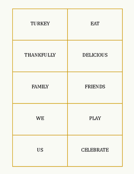 Thanksgiving Parts of Speech Word Sort