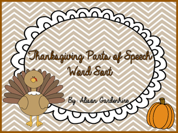 Thanksgiving Parts of Speech sort
