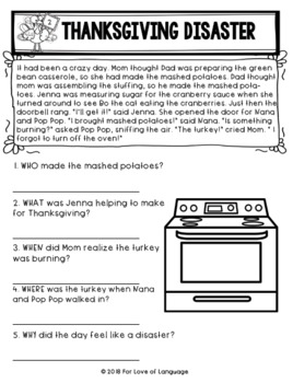 Thanksgiving Passages with WH--Questions--Leveled