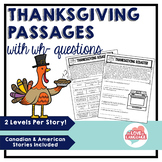 Thanksgiving Passages with WH-Questions--Leveled