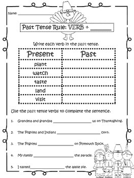 Thanksgiving Past Tense Verbs Practice