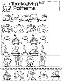 Thanksgiving Activities Pattern Practice & Pocket Chart Pieces
