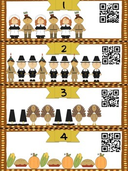Thanksgiving Pattern QR Code Task Card SCOOT